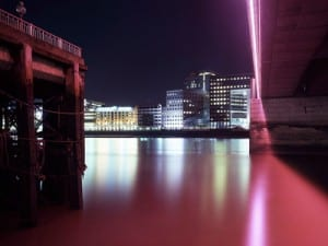 William Eckersley, View across the river under  pink light, EC4