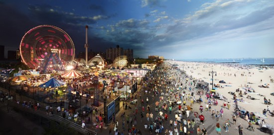 Stephen Wilkes, Coney Island, Day To Night, 2011. Digital C-print, 40 x 80 inches. Courtesy Monroe Gallery of Photography.