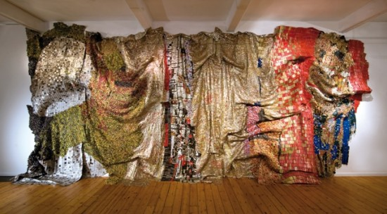 El Anatsui, In the World but Don't Know the World, 2009, Photo by Jonathan Greet,Image courtesy of October Gallery, London
