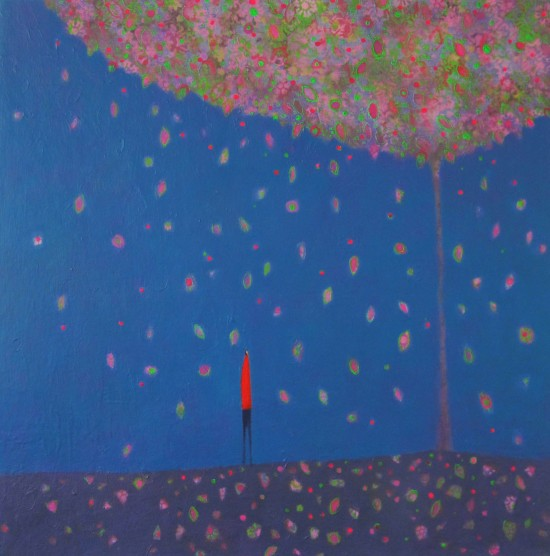 walking in blossom.acrylic.50x50cm.emma brownjohn