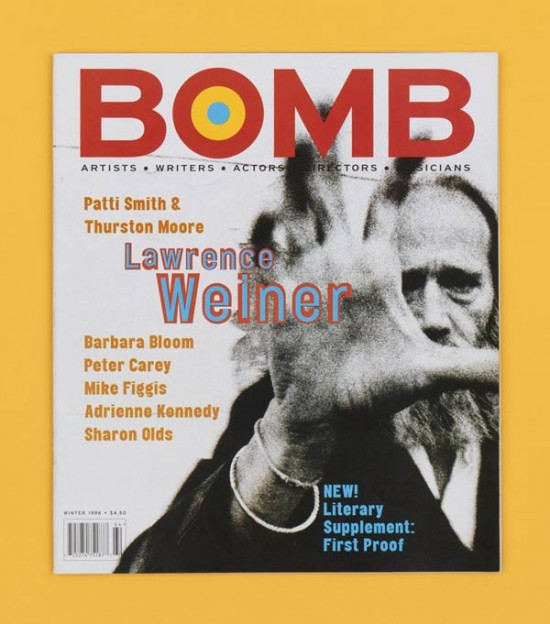 Bomb magazine, Winter 1996, 315 x 275mm, Designed by Tony Arefin.
