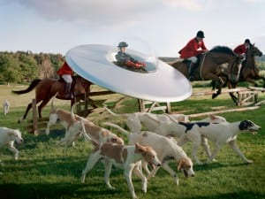 Tim Walker, Kinga Rajzak in Flying Saucer with Members of the West Percy Hunt, 2009. Eglingham Hall, Northumberland.