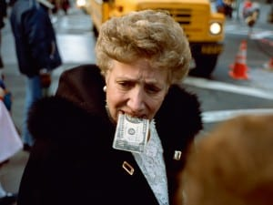 Jeff Mermelstein, Untitled ($10 bill in mouth), New York City, 1992.