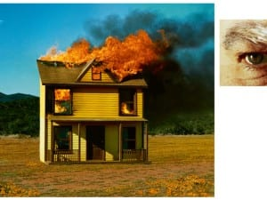 Alex Prager, 4:01 pm, Sun Valley. And Eye #3 (House Fire) (Diptych), 2012.