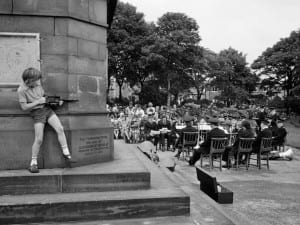 Martin Parr, Halifax, West Vale Park. Three local chapels combine to have an outdoor service, 1975.
