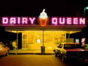 Jim Dow, Dairy Queen at Night, US 6, Iowa City, Iowa, IA, 1988