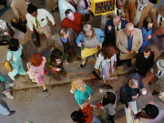 Alex Prager Crowd #11 (Cedar and Broad Street) 2013  Image courtesy of the artist, Lehmann Maupin, New York and Hong Kong, Yancey Richardson Gallery, New York, and M+B Gallery, Los Angeles.