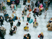 Alex Prager Crowd #7 (Bob Hope Airport) 2013  Image courtesy of the artist, Lehmann Maupin, New York and Hong Kong, Yancey Richardson Gallery, New York, and M+B Gallery, Los Angeles.