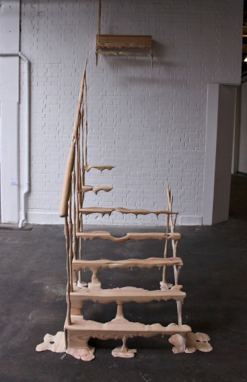 'Downfall' 2012, Hollie Mackenzie, 340cmx270cmx110cm, Pine wood