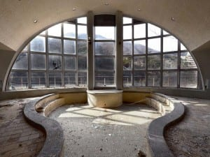 Reginald Van de Velde, from the Haikyo series, 2012. Japan. The view from inside a disused thermal bath complex.