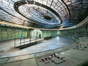 Reginald Van de Velde, from the Tomorrow Never Knows series, 2012. Art Deco control room of a defunct thermal power plant in Eastern Europe. The glass roof was an easy target during WWII, hence the construction of an indoor shelter for employees. Luckily it survived the raids and is here to stay, forever more.