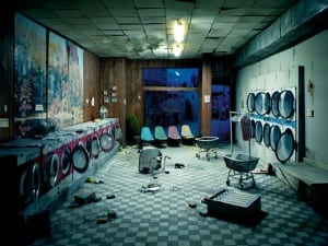 Lori Nix, Laundromat at Night, 2008. From the series The City. Courtesy of Lori Nix.
