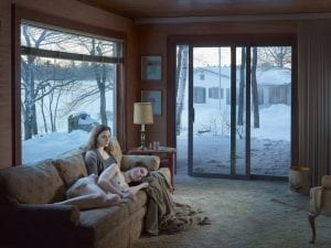 Gregory Crewdson, Mother and Daughter, 2014. Digital pigment print. 114.5 x 146.2 cm (framed). Ed. 1/3, plus 2 APs. © Gregory Crewdson. Courtesy of Gagosian Gallery.