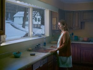 Gregory Crewdson, Woman at Sink, 2014. Digital pigment print. 114.5 x 146.2 cm (framed). Ed. 1/3, plus 2 APs © Gregory Crewdson. Courtesy of Gagosian Gallery.