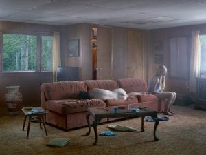 Gregory Crewdson, The Den, 2013. Digital pigment print. 114.5 x 146.2 cm (framed). Ed. 1/3, plus 2 APs. © Gregory Crewdson. Courtesy of Gagosian Gallery.