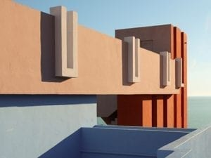 Outtake from <i>Muralla Roja,</i> architecture series, 2016-2017. Photography, Art Direction and Creative Direction: Tekla Evelina Severin. Location: Calpe, Spain.
