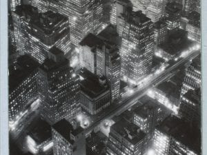 Berenice Abbott (American, 1898–1991). <i>The Night View,</i> 1934 (printed 1974). Gelatin silver print, 13 ¾ x 10 ¾ inches. The Museum 