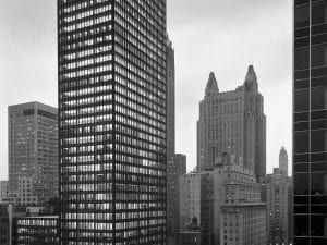 Ezra Stoller (American, 1915–2004). <i>Seagram Building, Mies van der Rohe with Philip Johnson, New York, NY,</i> 1958. Gelatin silver print, 20 x 16 inches. Courtesy Yossi Milo Gallery, New York. © 2018 Estate of Ezra Stoller/ Esto.