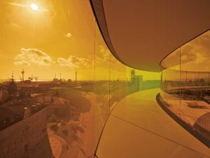 <I>Your rainbow panorama</I>, 2006-11.  360-degree walkway installed on top  of the ARoS Aarhus Art Museum, Denmark. Picture credit: Thilo Frank  / Studio Olafur Eliasson.